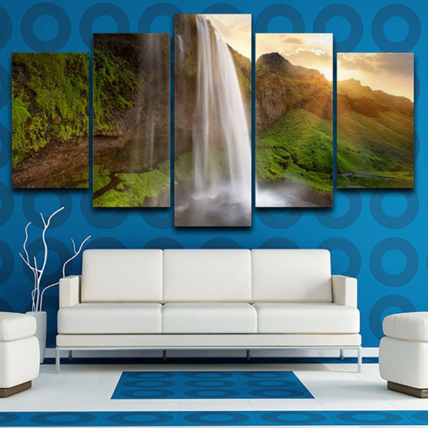 Living Room Wall Art Pictures On Canvas HD Printed 5 Piece/Pcs Waterfall Dusk Landscape Modern Painting Home Decor Poster Frame