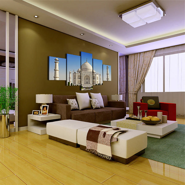Art Pictures Home Decoration Posters Frame 5 Piece/Pcs Taj Mahal Building Sunshine Modern Wall Living Room HD Printed Painting