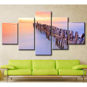 Wall Art Painting Modular Pictures Framework 5 Piece/Pcs Sea Dusk Landscape Home Decor Living Room HD Printed Modern Canvas