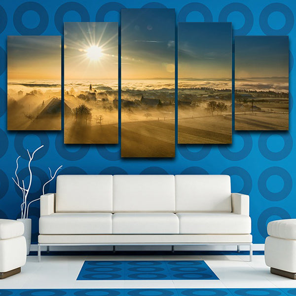 Wall Art Pictures Frame Living Room HD Printed 5 Panel Village Fog Sunset Dusk Scenery Home Decoration Posters Modern Painting