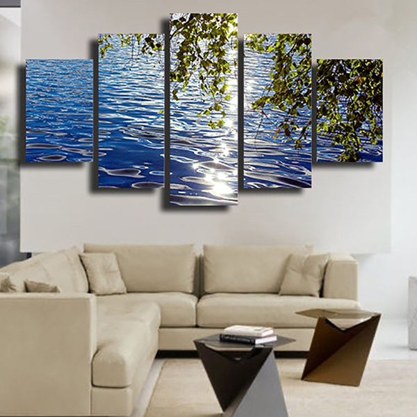 Wall Art Modular Pictures Painting Poster Home Decor 5 Piece/Pcs Lake Sunshine Leaf Frame HD Printed Modern Canvas Living Room