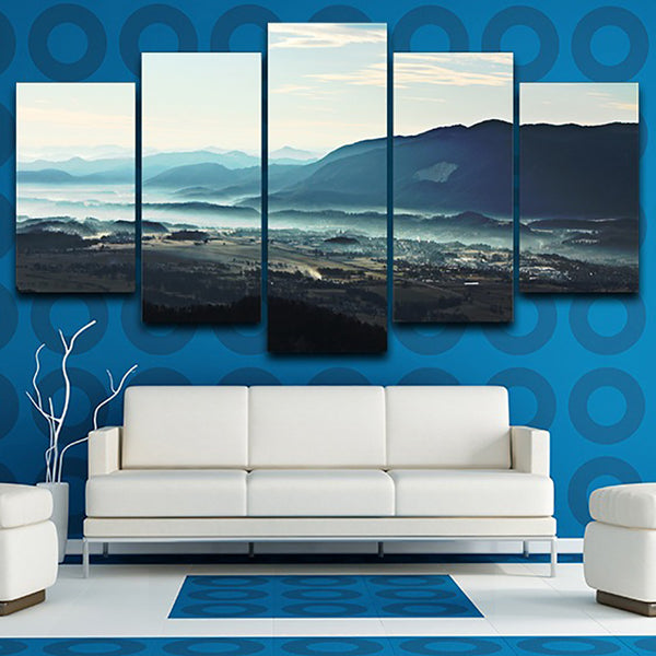 Living Room Frame HD Home Decor Printed Pictures 5 Panel Valley Mist Landscape Modern Canvas Painting Wall Art Modular Poster