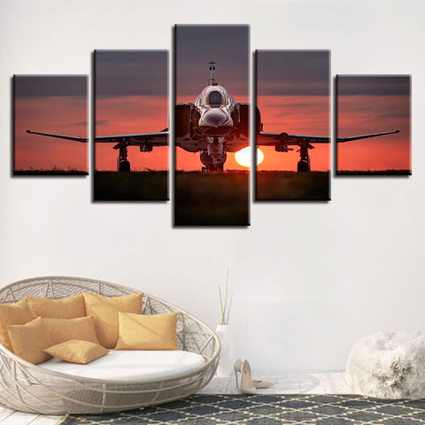 Printed Modular Picture Large Canvas Framework 5 Panel Sunset Aircraft Painting For Bedroom Living Room Home Wall Art Decor
