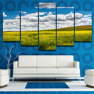 Tableau Wall Art Pictures Canvas Paintings Modular 5 Panel Blue Sky White Cloud Grassland Modern HD Printed Posters Home Decor
