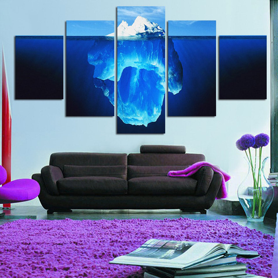 Living Room Modular HD Printed Pictures 5 Piece/Pcs Iceberg Lake Landscape Framed Wall Art Painting Canvas Poster Home Decor