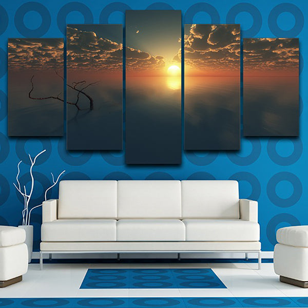 Framework Home Decor Living Room Wall Pictures 5 Panel Sunset Dusk Sea Scenery Art Painting Modular HD Printed Canvas Poster