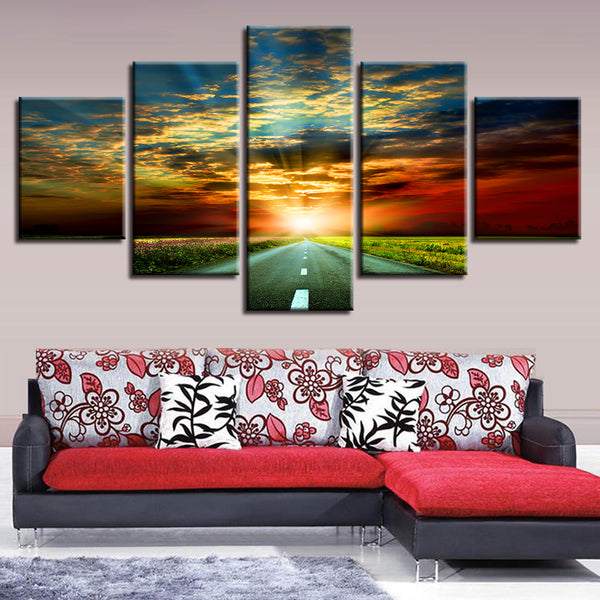 For Living Room Frame Canvas Modern HD Printed 5 Panel Sunrise Nature Landscape Wall Art Home Decor Painting Poster Pictures