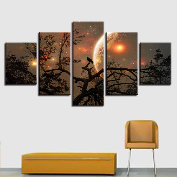 Living Room Canvas HD Print Painting Modular Pictures 5 Panel Tree Moon Night Landscape Frame Wall Art Poster Modern Home Decor