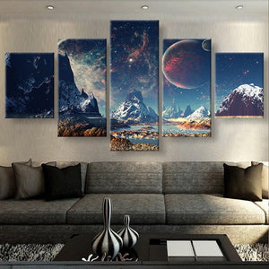 Printed Painting Canvas Home Decoration 5 Panel Mountain And Space Large Poster HD Wall Art Modular Pictures For Living Room