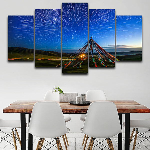 Decor Living Room Canvas HD Print Painting 5 Panel Star Sky Night Landscape Frame Wall Art Poster Modern Home Modular Pictures