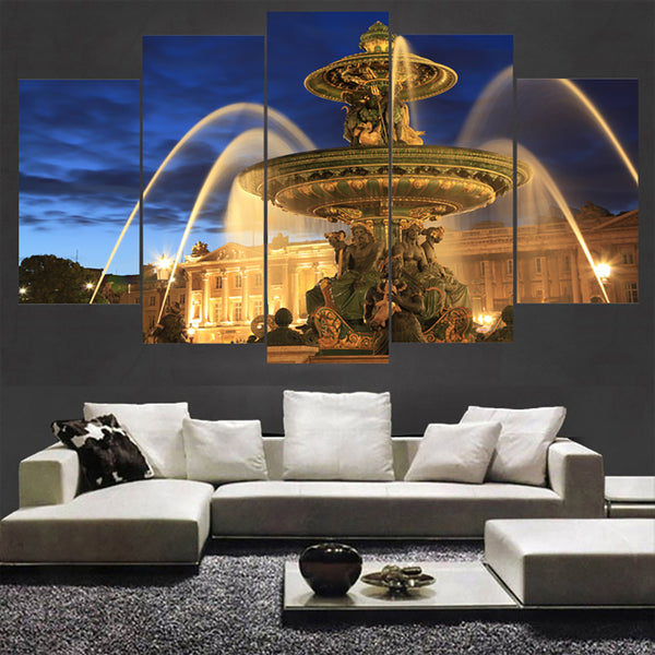 HD Printed Modular Pictures Framed Modern Canvas 5 Panel Foreign Building Landscape Home Decor Living Room Wall Art Painting