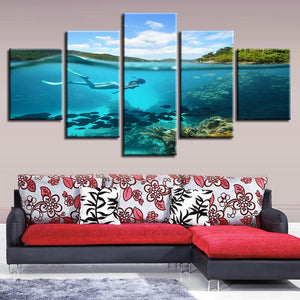 Modular Poster Frame Home Decor HD Printed 5 Panel Girl Diving Blue Ocean Painting Wall Art Modern Canvas Living Room Pictures