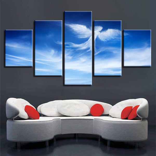 Canvas HD Print Wall Art Painting Modular Pictures 5 Panel Blue Sky White Cloud Framework Poster Modern Home Decor Living Room