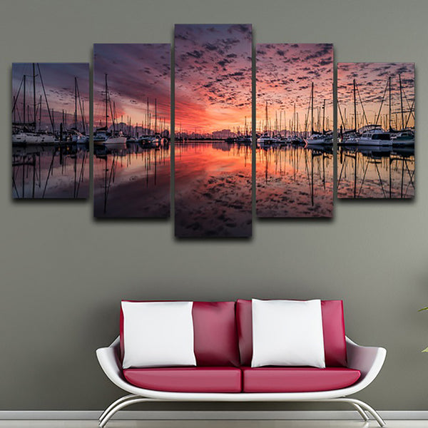 Home Decor Canvas Painting Poster Wall 5 Panel Harbour Sunset Landscape Modern HD Framework Art Living Room Printed Pictures