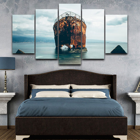 Decoration HD Printed Painting Posters Modern Wall 5 Panel Shabby Ship Sea Landscape Home Art Pictures Framework Living Room