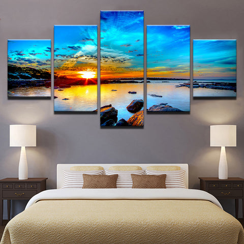 Canvas Prints Paintings Home Decoration 5 Pieces Blue Sky Seaside Reef Pictures Sunset Seascape Poster Wall Art Framework