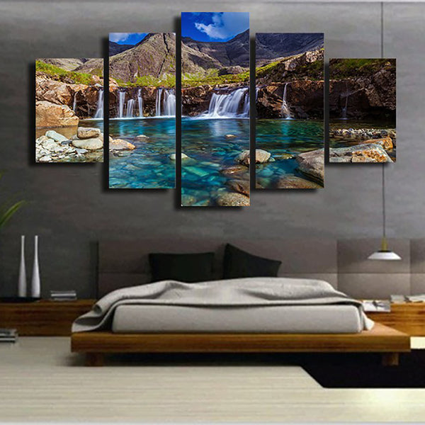 For Living Room Modern HD Printed Pictures 5 Piece/Pcs Mountains And Rivers Wall Art Home Decor Frame Canvas Painting Posters