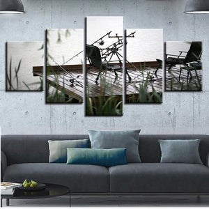Art Painting Modular Pictures HD Printed Canvas Poster 5 Panel Lake Wood Bridge Landscape Framed Wall Home Decor Living Room