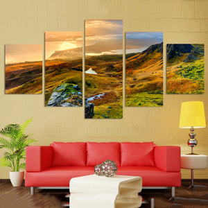 Living Room Wall Art Pictures HD Printed Home Decor 5 Panel Mountains Sunset Landscape Modern Painting On Canvas Poster Frame