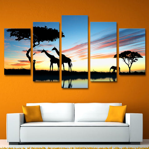 Modern Painting On Canvas Home Decor Dusk View 5 Piece/Pcs Wild Giraffe Posters Frame Living Room Wall Art Pictures HD Printed