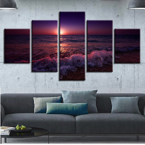 Poster Wall Art Living Room Canvas Painting Pictures Printed 5 Panel Sunset Dusk Sea Landscape Modern HD Framework Home Decor
