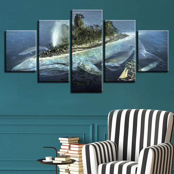 Modular Picture Wall Art Home Decoration Posters 5 Panel Seascape Frame Living Room HD Printed Modern Painting On Canvas
