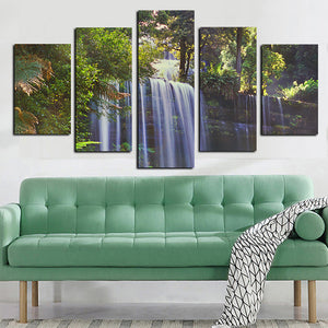 Frame Home Decor Living Room Wall Pictures 5 Piece/Pcs Forest Waterfall Landscape Art Painting Modular HD Printed Canvas Poster