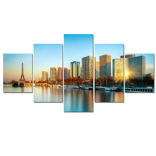 Framework Living Room Wall Art Pictures HD Printed 5 Piece/Pcs City Dusk Landscape Modern Painting On Canvas Home Decor Poster