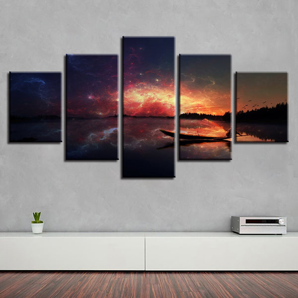 Home Decoration Canvas Oil Painting Top-Rated 5 Panel Landscape Modular Framework Pictures Wall For Living Room Modern Type
