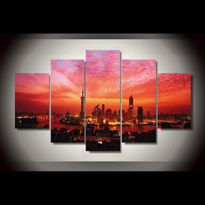 Decoration Posters Modern Wall Art Pictures Frame 5 Piece/Pcs City Dusk Clouds Landscape Home Living Room HD Printed Painting