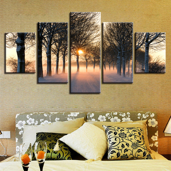 For Living Room Modern Wall Art HD Printed Pictures 5 Panel Sunrise Trees Landscape Home Decor Frame Canvas Painting Posters