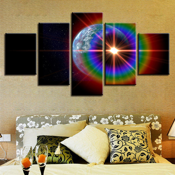Canvas Poster Framework Wall Pictures Home Decor 5 Panel Planet And Rainbow Light Art Painting Modular HD Printed Living Room