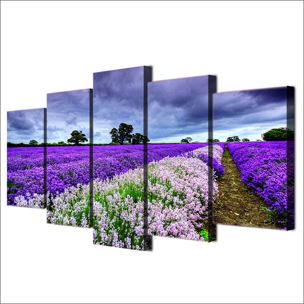 HD Printed Canvas Poster Home Decor Living Room 5 Piece/Pcs Lavender Flower Garden Framed Wall Art Painting Modular Pictures