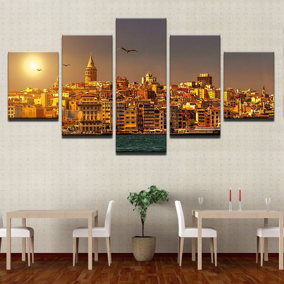 Artwork Painting Modular Pictures Framework 5 Panel Sunset City Landscape Home Decor Living Room Wall HD Printed Modern Canvas