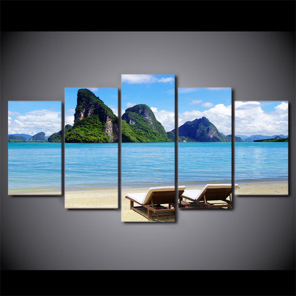 Home Decoration Posters Frame Living Room 5 Piece/Pcs Blue Sky Tropical Sea Coast Modern Wall Art Pictures HD Printed Painting