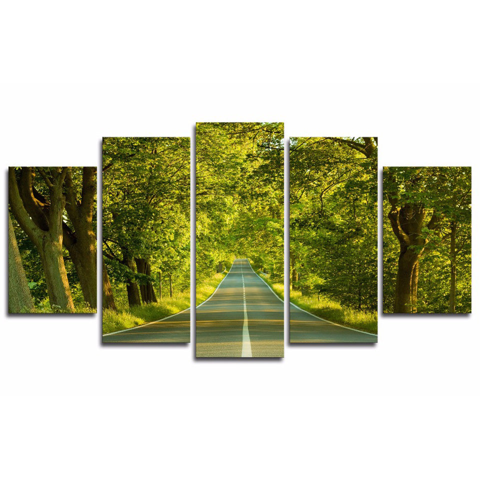 Tableau Wall Art HD Printed Pictures Modular Poster Canvas 5 Piece/Pcs Forest Road Sunshine Scenery Home Decor Modern Paintings