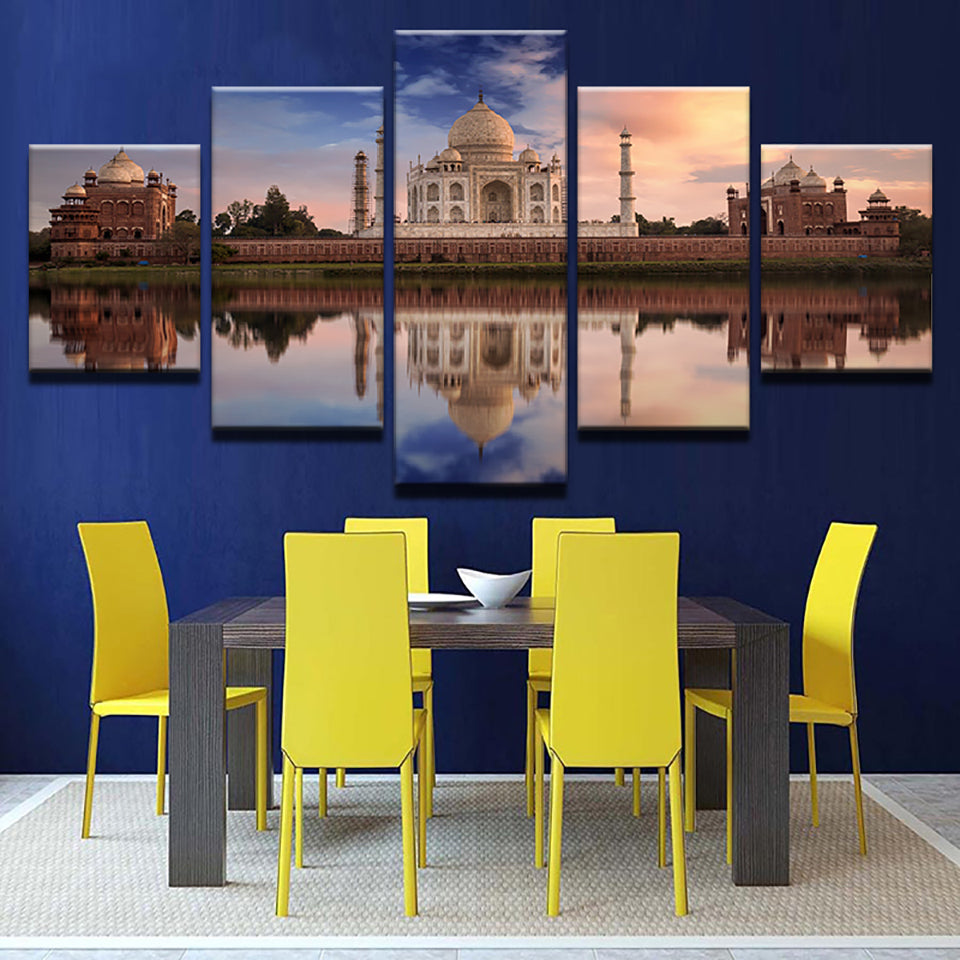 Living Room HD Printed Home Decoration Painting 5 Piece/Pcs Taj Mahal Lake Dusk View Modern Wall Art Pictures Poster Framework