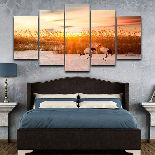 Decor HD Printed Painting Poster Frame Living Room 5 Panel River Reeds Cranes Sunrise Landscape Modern Wall Art Pictures Home