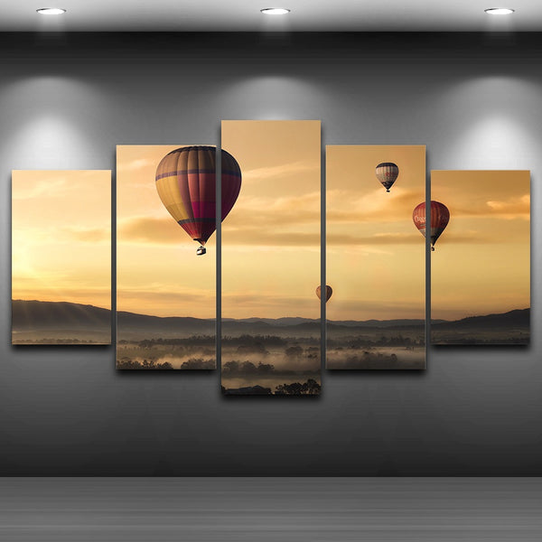 Home Decoration Poster Modern Wall Art Pictures 5 Panel Dusk Landscape Fire Balloons Framework Living Room HD Printed Painting