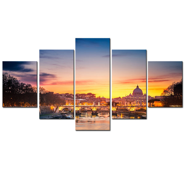 Tableau Wall Art Modular Posters Pictures Canvas 5 Piece/Pcs City Sunset Dusk Scenery Modern HD Printed Paintings Home Decor