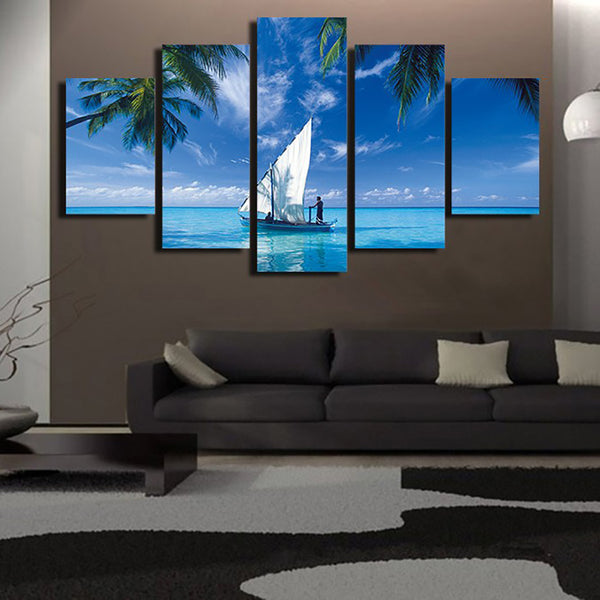 Modern Home Decor Living Room Canvas 5 Piece/Pcs Blue Ocean Sailboat Frame Wall Art Poster HD Print Painting Modular Pictures