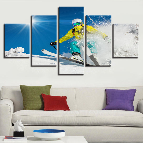Modular Wall Art Pictures Framework HD Printed 5 Panel Skiing Snow Landscape Home Decor Living Room Painting Modern Canvas