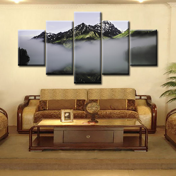 Canvas Painting Poster For Living Room 5 Panel Mountains Mist Landscape Wall Art Home Decor Frame Modern HD Printed Pictures