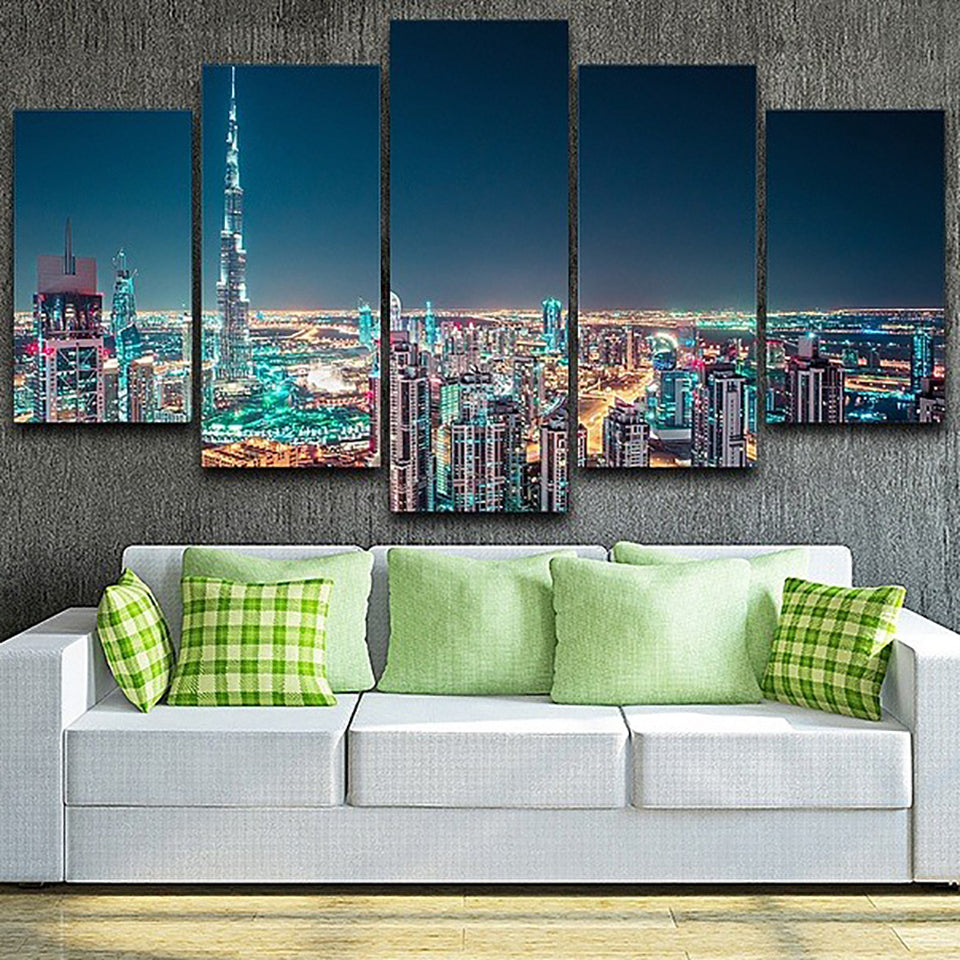 Canvas Living Room Pictures Home Decor 5 Panel Beautiful City Night Painting Wall Art Modular Poster Frame HD Printed Modern