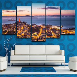 For Living Room Modern HD Printed Pictures 5 Panel Seaside City Night Scenery Wall Art Home Decor Frame Canvas Painting Poster