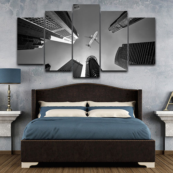 Wall Art Pictures HD Printed Home Decor Poster Frame 5 Panel City And Airplane Landscape Modern Painting On Canvas Living Room