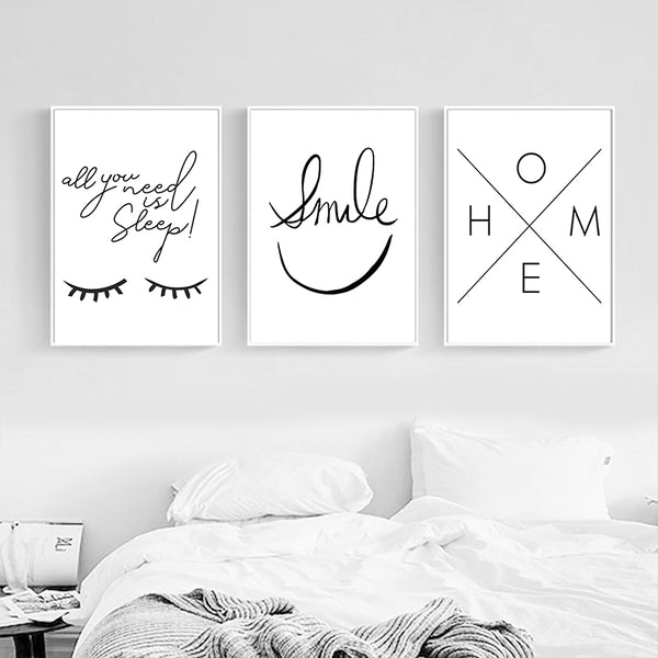 Nordic Simple Black and White Smiley Eyes Home Pattern Canvas Painting Art Print Poster Home Picture Wall Decoration