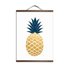 Modern Golden Pineapple Poster canvas painting Nordic Living Room Wall Art Picture Home Decor with Solid wood hanging shaft