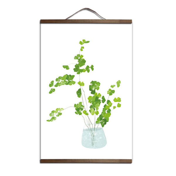 Plant Leaves Poster Print Landscape solid wood hanging scroll Canvas Painting Wall Art Picture for Home Decoration Green Decor
