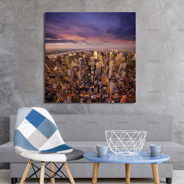 Wall poster home decor print Urban landscape on Canvas Pictures Canvas painting wall picture decoration for living room no frame
